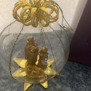 Nativity In Clear Plastic Ball Vintage Hallmark